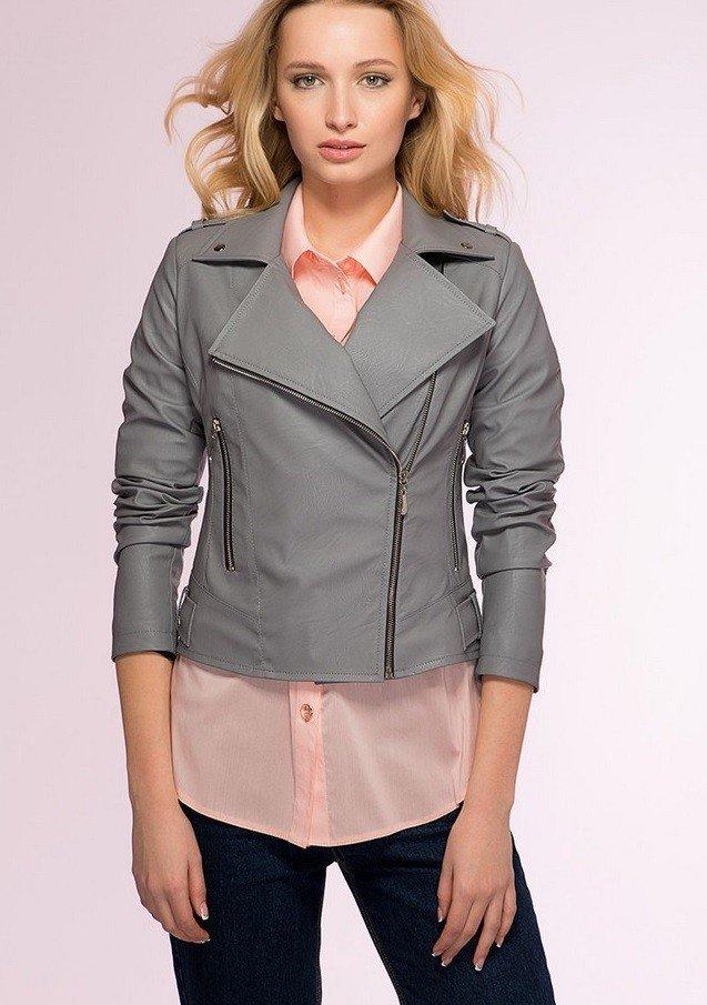 кожаная серая куртка короткая