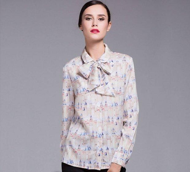 блузка шифоновая с бантом светлая в рисунок