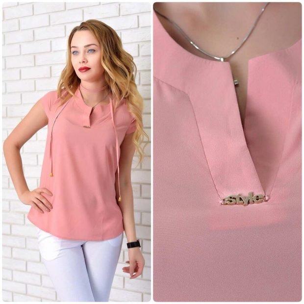 розовая блузка шифоновая без рукава