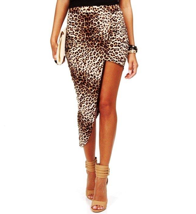 леопардовая юбка асимметрия