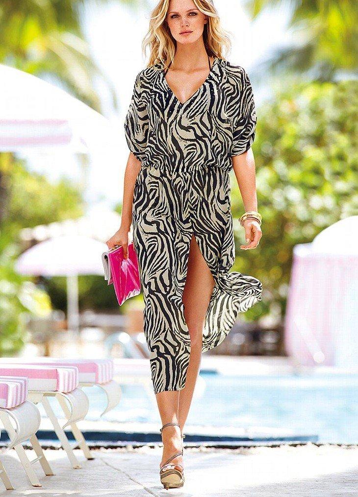 платье шифоновое принт зебра