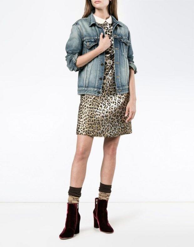 Мода весна лето 2019 для женщин за 30: платье в леопардовый принт под джинсовку