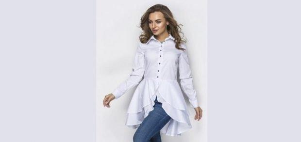 белая блузка с воланами асимметрия