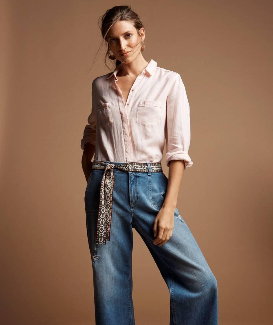широкие джинсы под блузку
