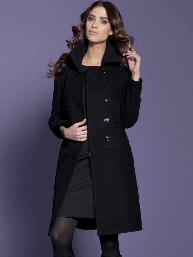 черное пальто классика под платье в тон