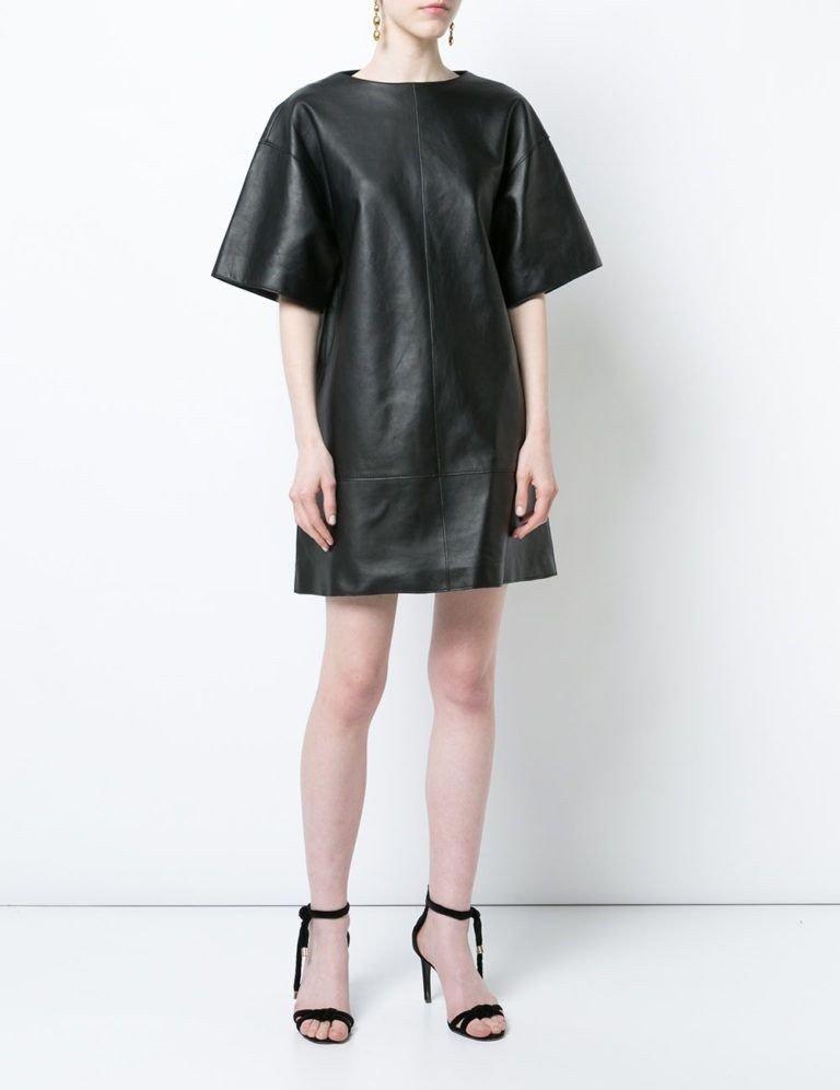 кожаное платье черное