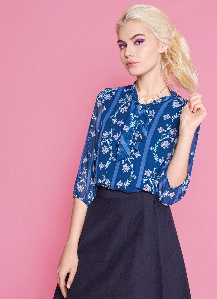 синяя юбка под блузку синюю в цветы