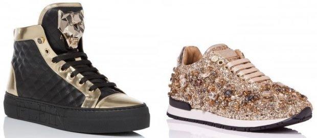 женская обувь весна 2020: высокие кеды черные с золотым кроссовки золотые в бисер и пайетки