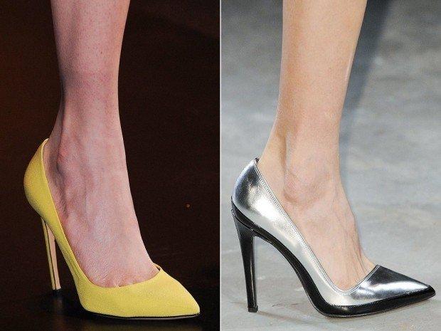 женская обувь лето 2021: туфли желтые серебристые лодочки на шпильке
