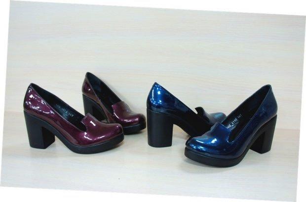 туфли бордовые синие на толстом каблуке