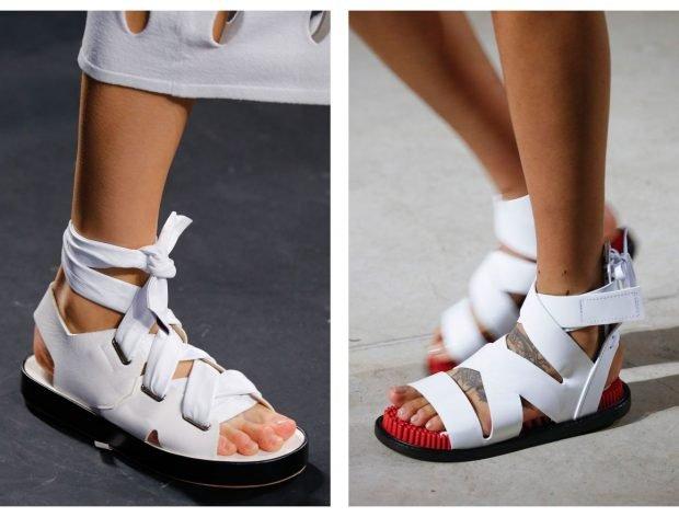 женская обувь лето 2020: сандалии на ровной подошве белые с завязками