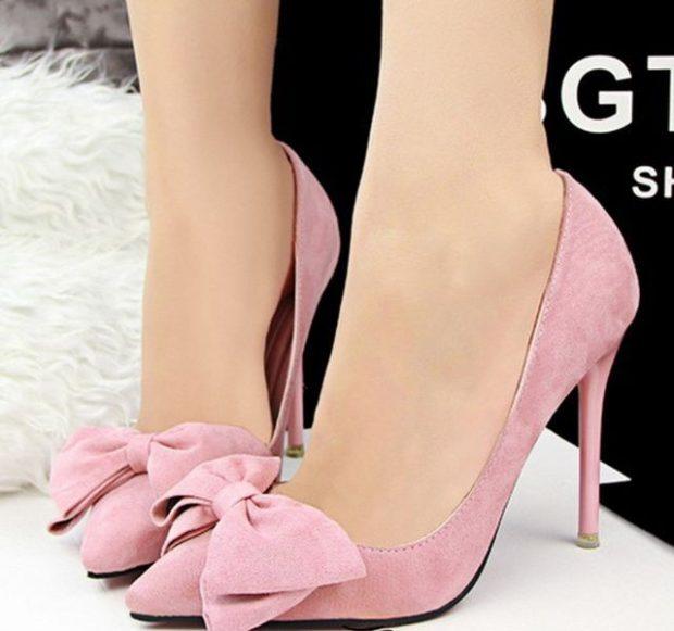 туфли розовые на шпильке с бантиком