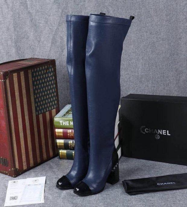 ботфорты синие с черным носком и на толстом каблуке