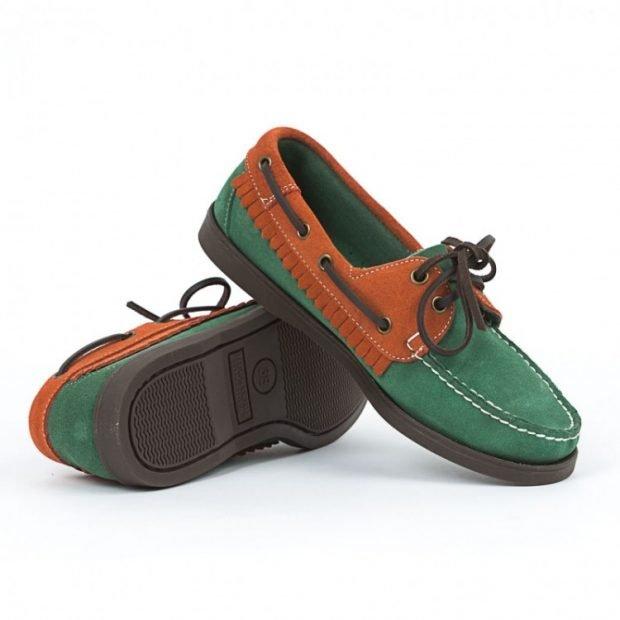 топсайдеры зеленые с коричневым