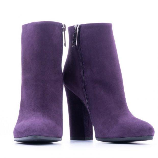 ботильоны фиолетовые на толстом каблуке
