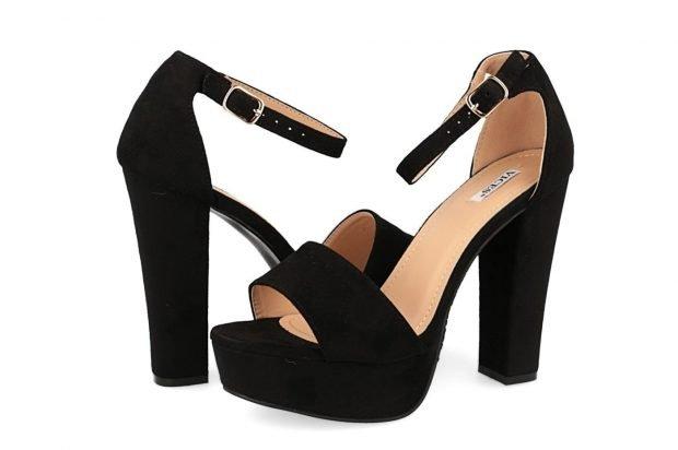босоножки черные на толстом каблуке замша