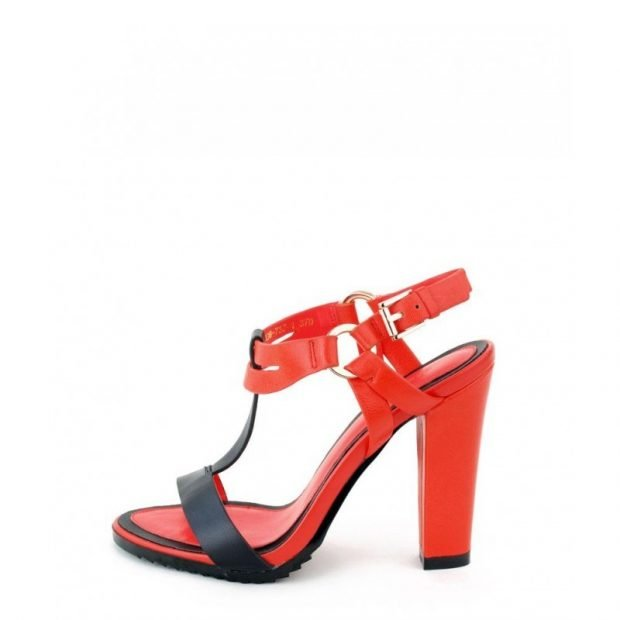 босоножки красные с черным на толстом высоком каблуке