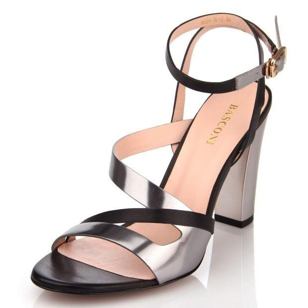 босоножки черно-серебристые на толстом каблуке
