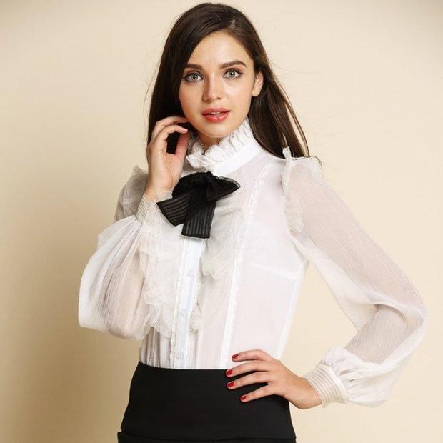 блузка белая с черным бантом рукав прозрачный воротник стойка