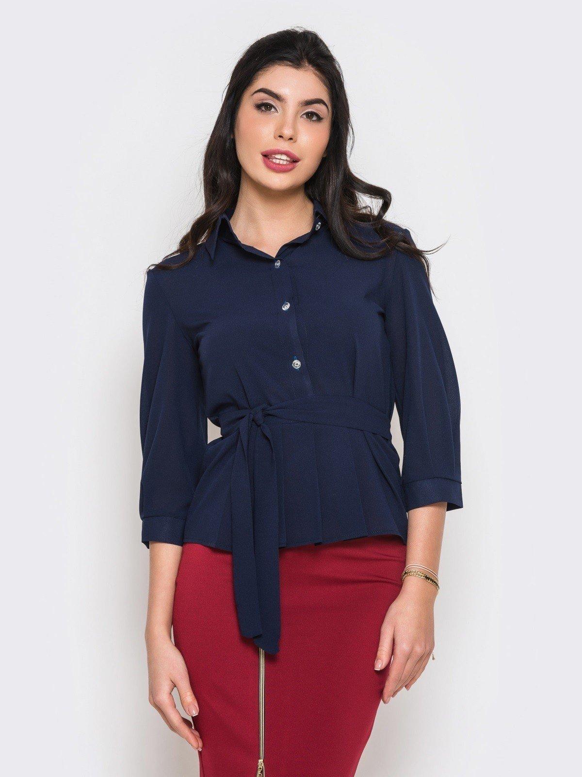 блузка с баской темно-синяя рукав 3/4 с пояском