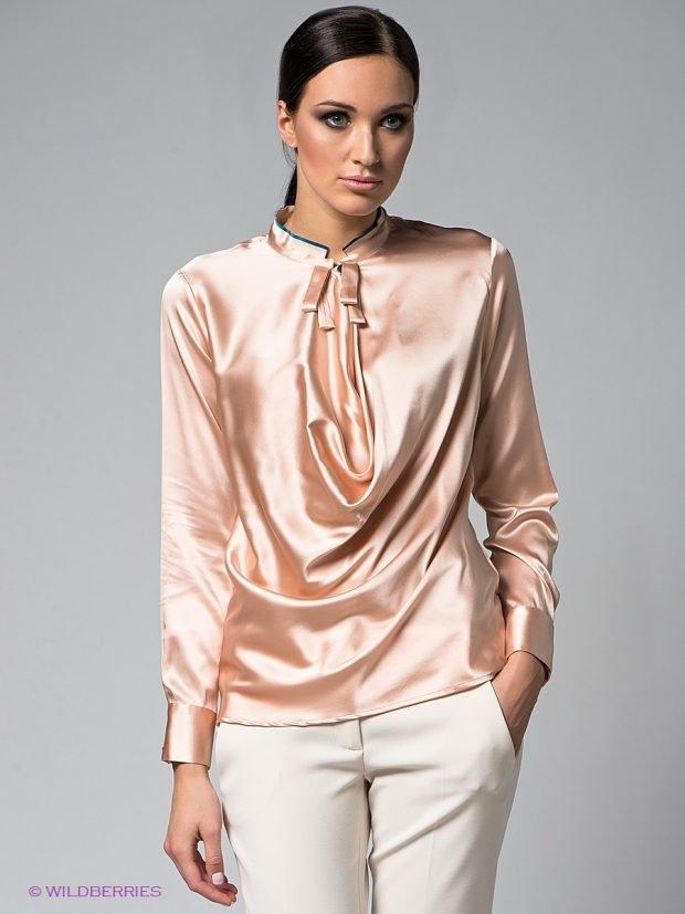 вечерняя блузка атласная персиковая