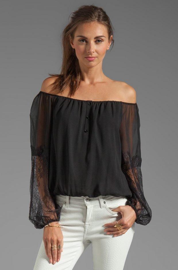 вечерняя блузка черная открытые плечи