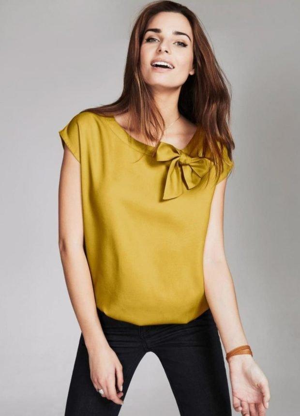вечерняя блузка рукав короткий с бантом оливковый цвет