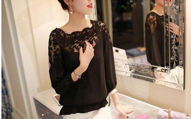 вечерняя блузка черная ажурный верх