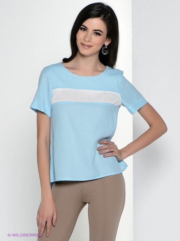 блузка с коротким рукавом голубая легкая летняя