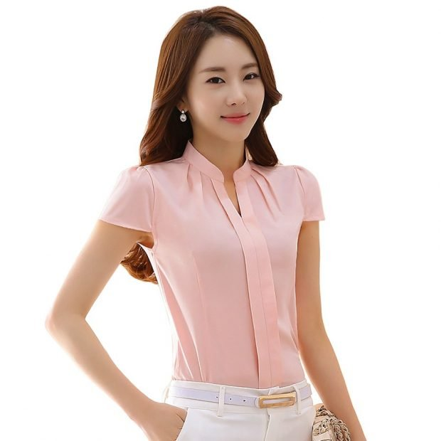 блузка с коротким рукавом розовая
