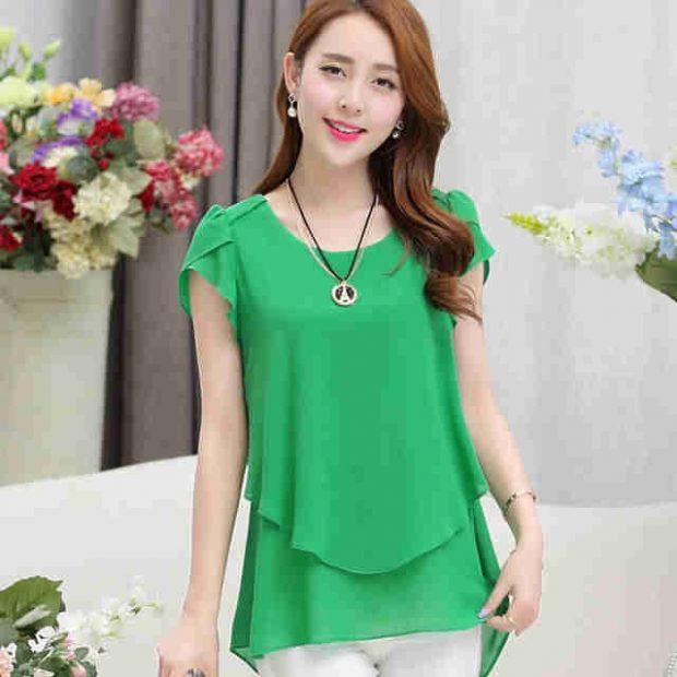 блузка с коротким рукавом зеленая двухслойная