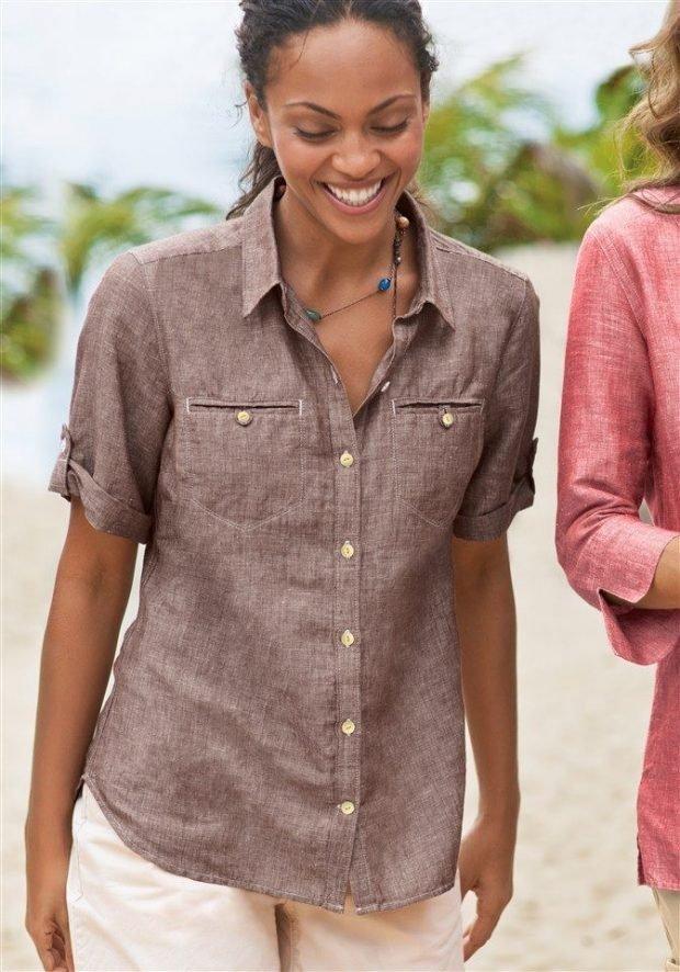 блузка с коротким рукавом коричневая льняная