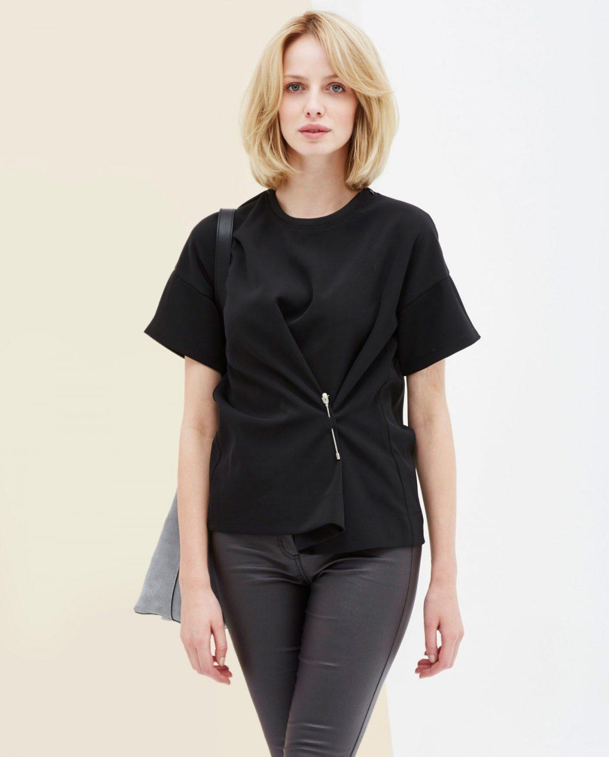 блузка с коротким рукавом черная оригинальная застежка