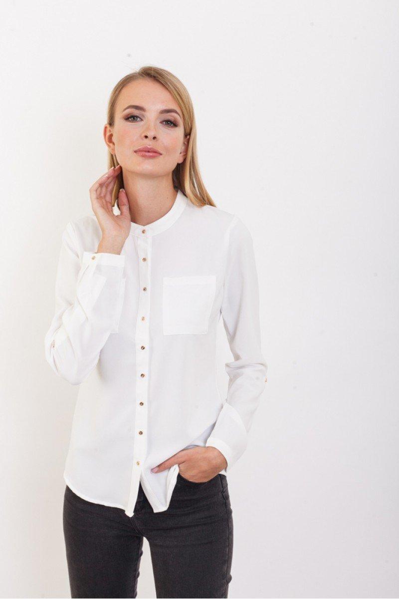 блузка с длинным рукавом белая офисный стиль