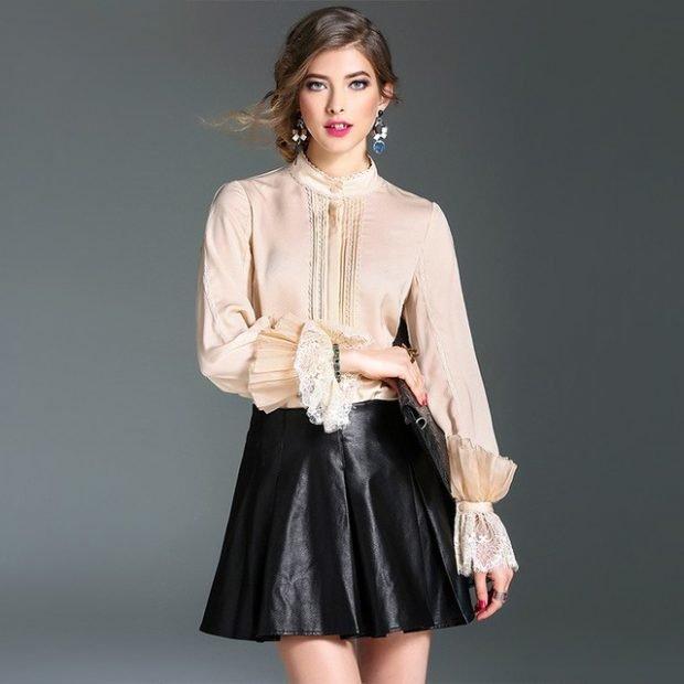 блузка бежевая рукава с воланами