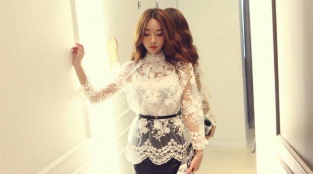 блузка с длинным рукавом ажурная белая