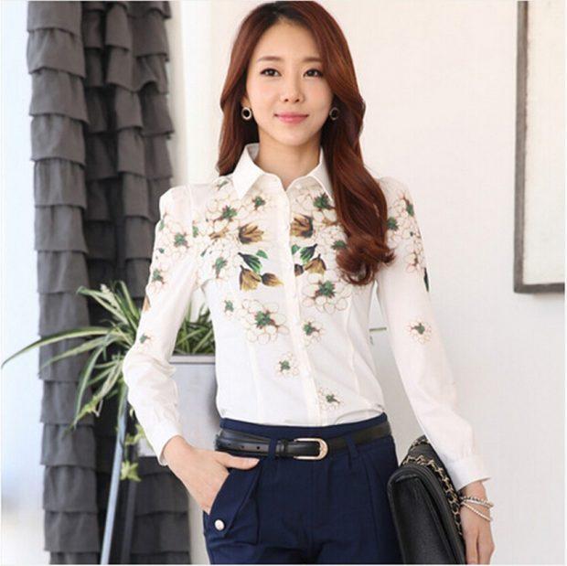 блузка с длинным рукавом белая в цветы