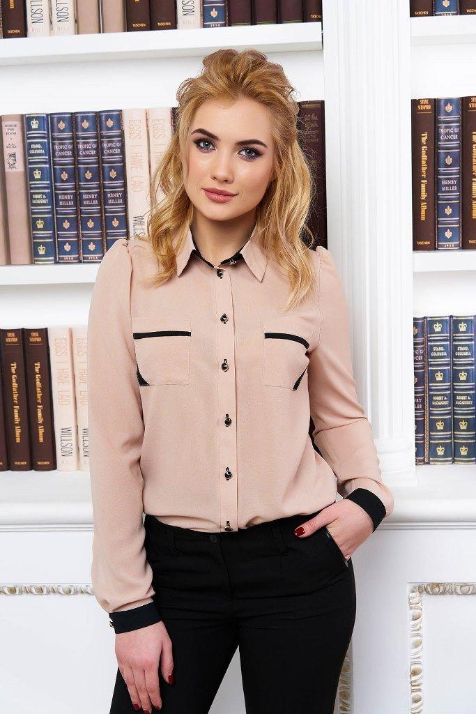 блузка с длинным рукавом бежевая с черной отделкой