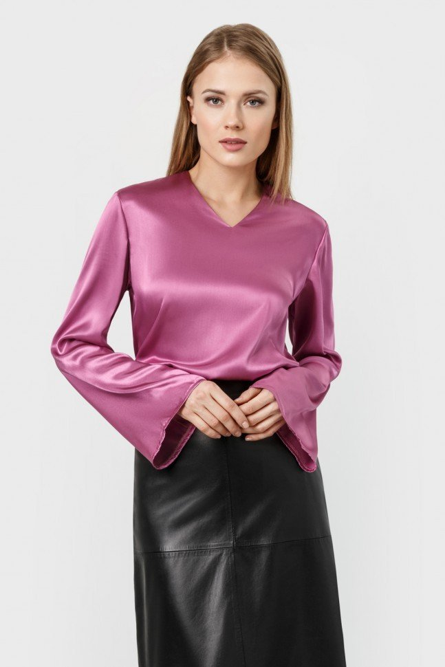блузка с длинным рукавом атласная рукав-колокол бордовая