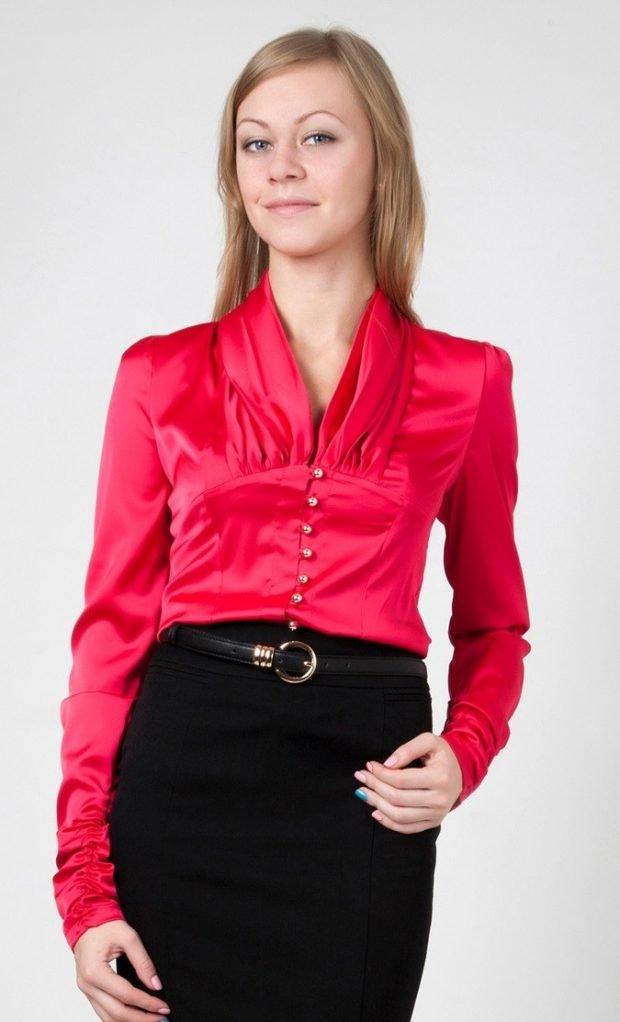 блузка с длинным рукавом красная