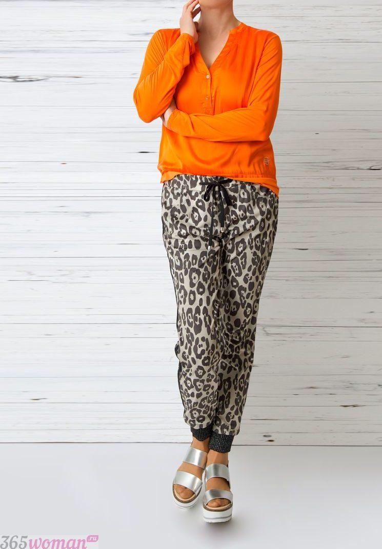 блузка с длинным рукавом оранжевая свободный крой