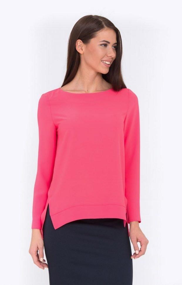 блузка с длинным рукавом малиновая