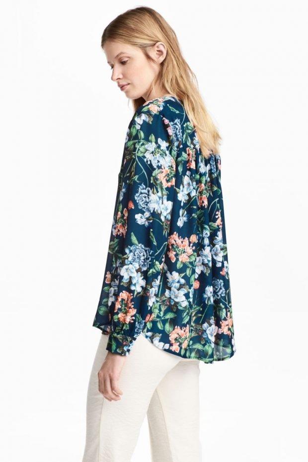 блузка с длинным рукавом шелковая в цветы