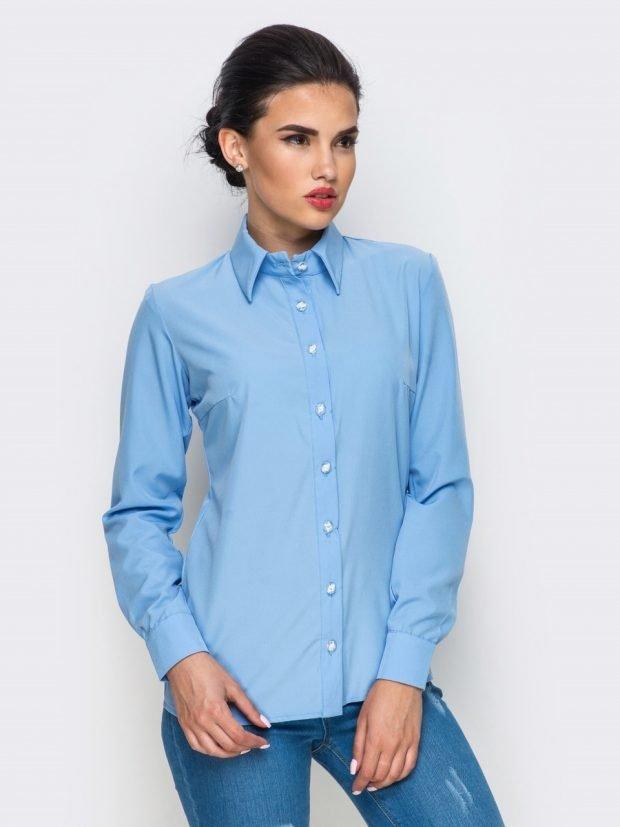блузка с длинным рукавом синяя офисный стиль