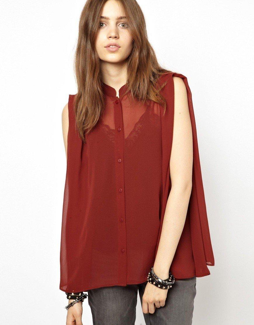 Блузка свободного кроя красная прозрачная без рукава