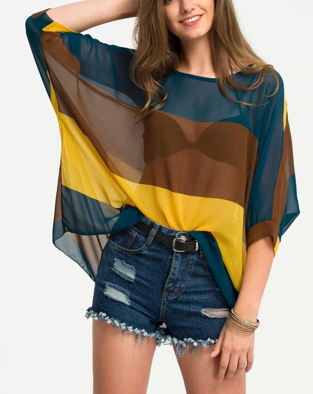 Блузка свободного кроя прозрачная в полоску