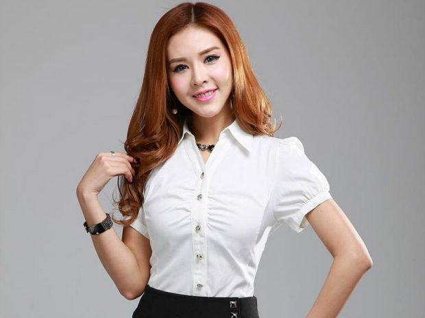 блузка офисная белая рукав короткий