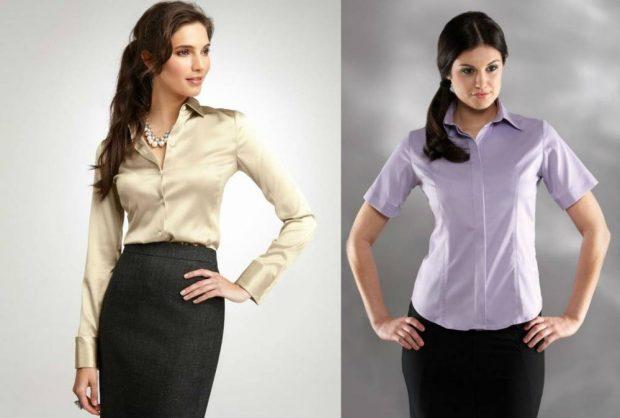 блузка офисная бежевая рукав длинный нежно-фиалковая рукав короткий