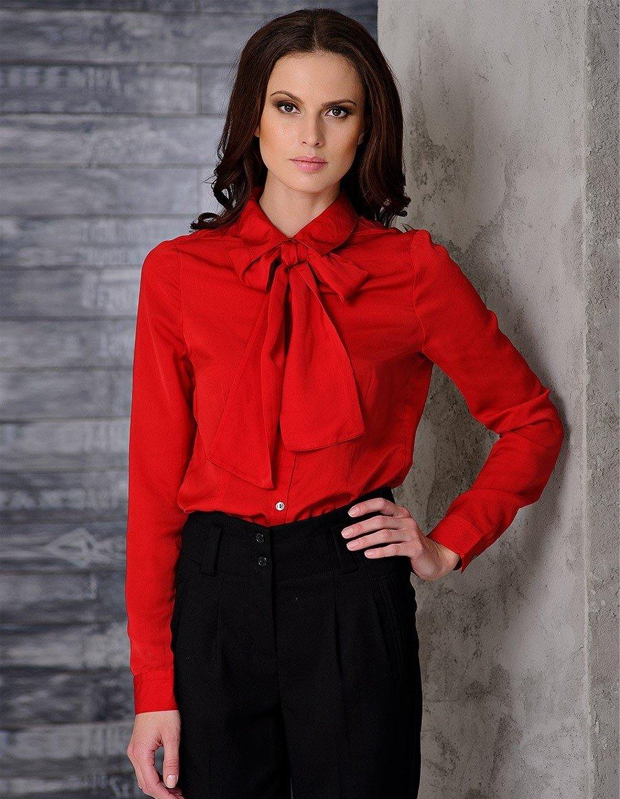 блузка офисная красная с бантом рукав длинный