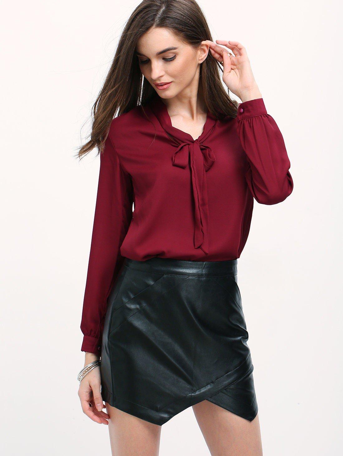 блузка офисная бордовая рукав длинный с бантом